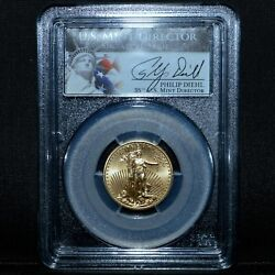 2013 10 Gold American Eagle ✪ Pcgs Ms-70 ✪ 1/4 Philip Diehl Signed ◢trusted◣