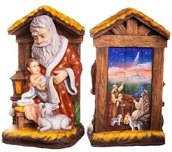 Wooden Hand Carved Santa Claus Figurine 14 Hand Painted Nativity Scene