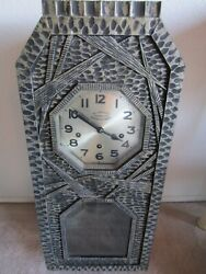 Amazing French Antique Handcarved Wood Wall Clock, Industrial/gothic Style Xlnt