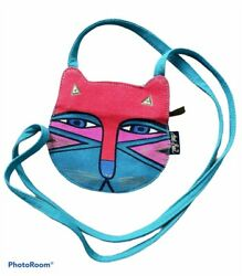 90s Vintage Laurel Burch Cat Purse Crossbody Face Artsy Funky Turquoise Red Pink