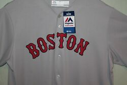Boston Red Sox Mlb Majestic Gray Road Cool Base Team Jersey - Blank Back - New