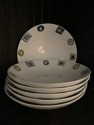 Crate And Barrel Retro Blue And Green Geometric Pasta Bowls 6