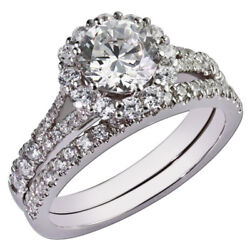 Unique 1.10 Ct Real Round Diamond Engagement Ring 14k White Gold Size 6 7 8 9