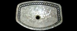 Vessel With White Mother Of Pearl Stone Random Work Marble Sink 20 X 16 Inches