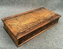 Large Antique German Black Forest Glove Box Wood 1930-40's Woodwork Peacock