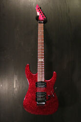 Used Esp M-ii Deluxe Custom Color Red Sparkle Matching Head 2013 Guitar Run459