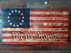 48x 26 Handmade Wood American Flag Betsy Ross We The People 1776 13 Stars