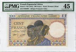 French Equatorial Africa 100 Francs Nd 1941 P-8 Pmg Ch. Xf 45
