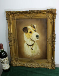 Antique French Oil Canvas Painting Fox Terrier Dog Portrait Signed