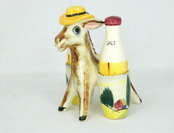 Vintage Donkey Burro With Bottles Figural Salt And Pepper Shakers