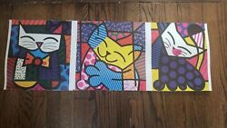 Pre-owned Fluffy Friends By Romero Britto Art Print Pop Cat Poster Out Of Print