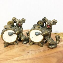 Kamp;O Antique Terrier Dog Playing Drum Book Ends Music Cymbals Desk Book Accessory