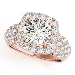 Round 1.70 Ct Real Solitaire Diamond Wedding Ring Solid 14k Rose Gold Size 5 6.5
