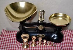 Vintage English Boots Cash Chemists Kitchen Scales 7 Brass Bell Weights