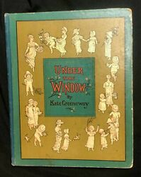 Kate Greenaway Under The Window Signed And Original Drawing 1st Issue 1878