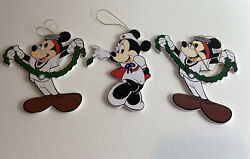 Vintage Mickey Mouse Doctor Nurse Wooden Cutout Christmas Ornament Lot Rare