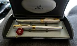 Parker Sonnet Fougere Sterling Silver Set - Fountain Pen And Rollerball