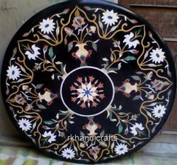 Black Marble Dining Table Top Stone Work Hotel Table Top With Marquetry Art
