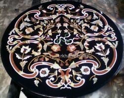 Handmade Round Hallway Table Top With Antique Work Inlay Marble Dining Table