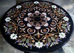 Round Marble Dining Table Top Handmade Peitra Dura Art Black Meeting Table Top