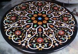 Black Marble Patio Dining Table Top Elegant Pattern Office Reception Table Top