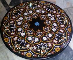 Floral Pattern Inlaid Round Dining Table Top Marble Hallway Table With Stone