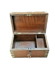 Old Indian Beautiful Brass Fitted Wooden Box 2 Compartment With Lock And Key.