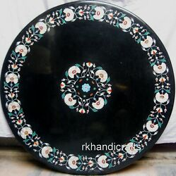Black Marble Dinette Table Top Inlay With Shiny Gemstones Patio Coffee Table Top