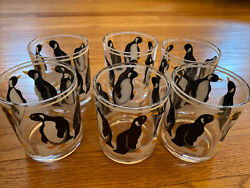 H.j. Stotter Acrylic Rocks Glasses Penguins Set Of Six Made In Usa