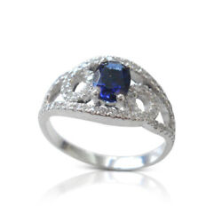 Natural 2.30 Ct Diamond Blue Sapphire Ring Solid 950 Platinum Rings Size 6 7 8.5