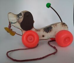 Vintage Fisher Price Little Snoopy Dog Puppy Pull Along Toy Wooden Made In Usa