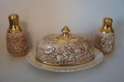 Robert Burns Gold Gilded Butter Dish W/salt And Pepper Shakers Witch Hunt Pottery