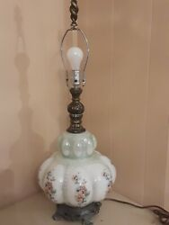 Accurate Casting Brass Table Lamp Green With Floral Glass Base