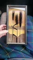 Mcm Vintage Virgil Thrasher 1974 665 Golden Wheat Shadow Box Picture Painting