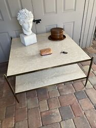 Mid Century Bronze And Limestone/travertine Cocktail Table, Style Of Billy Baldwin