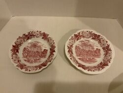Vintage China Set Of 2 Soup / Cereal Bowls Pink / Red Transferware Canoe