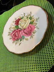 Vintage Queen Anne Bone China 8andrdquoplate Lady Sylvia Roses Gold Trim England