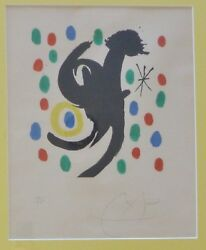Joan Miro Composition Hand Signed Numbered 10/100 Lithograph 1968 Framed