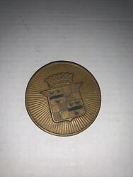 Vintage Circa 1930and039s Brass Embossed Cadillac Center Cap For Hubcap