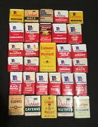 30 Vintage Spice Tins Mccormick, Durkee's Schilling Ann Page Colman's French's