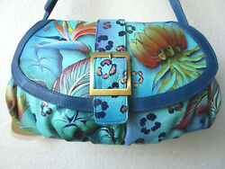 ANUSCHKA FLORAL PARADISE HAND PAINTED LEATHER SMALL SATCHEL PURSE NWT $185.25
