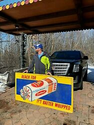 Vintage Lg Rare 72in Sunbeam Bread Batter Whipped Metal Sign / Girl Loaf Graphic