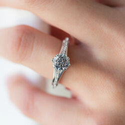 Solid 950 Platinum 0.92 Ct Real Diamond Engagement Rings For Women Size 5 6 7 8