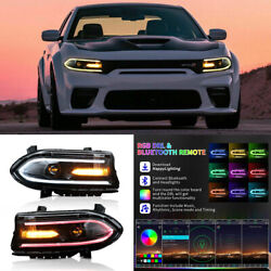 Led Rgb Color Change Drl Projector Headlights For 2015-20 Dodge Charger One Pair