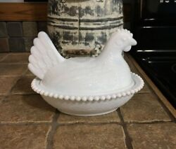 Vintage White Milk Glass Hen Dish Covered Candy Butter