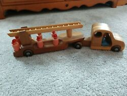 Vintage 21 Wood Wooden Fire Ladder Truck Toy With Firemen - Possibly British