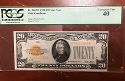 Pcgs 40 Fr2402 1928 20 Gold Certificate Star Note Looks Much Nicer