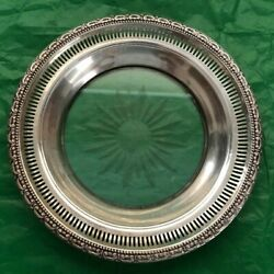 Vintage Frank Whiting Sterling Rim Dish/wine Champagne Coaster With Etched Glass