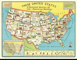 These United States A Pictorial American History 48 State Usa Map De Grange 1949