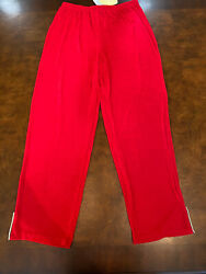 Citiknit Red Pants Ankle Split Crystal Detail Size Large